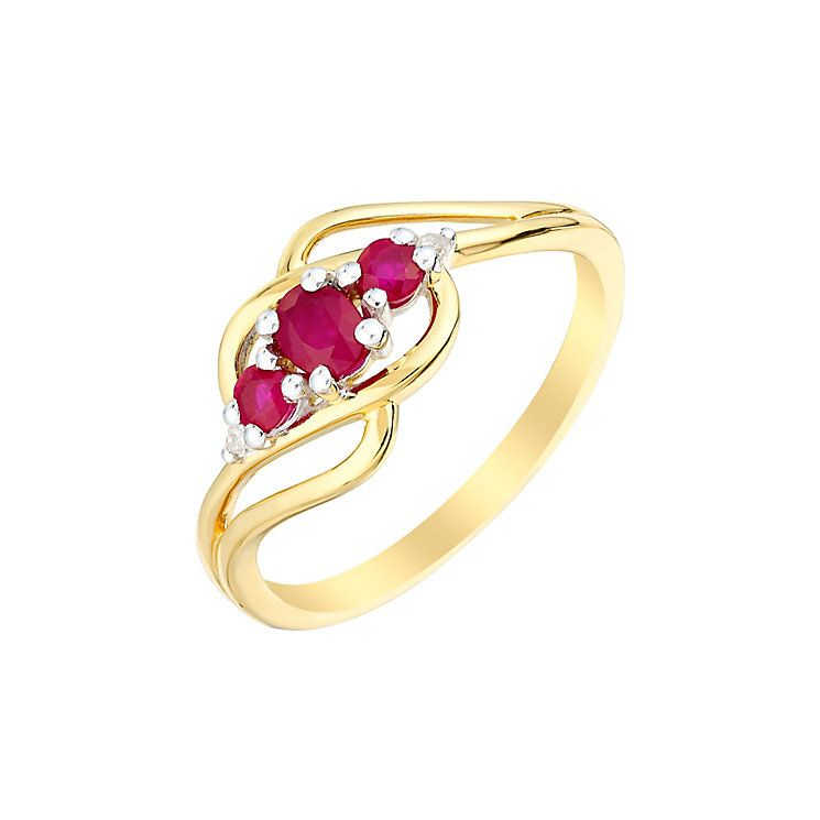 Kareco 9ct Yellow Gold Created Ruby And Diamond Ring