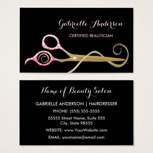 Beautician Pink And Black Faux Glitz Scissors Business Card Zazzle Com Beauty Business Cards Hairstylist Business Cards Beauty Salon Marketing