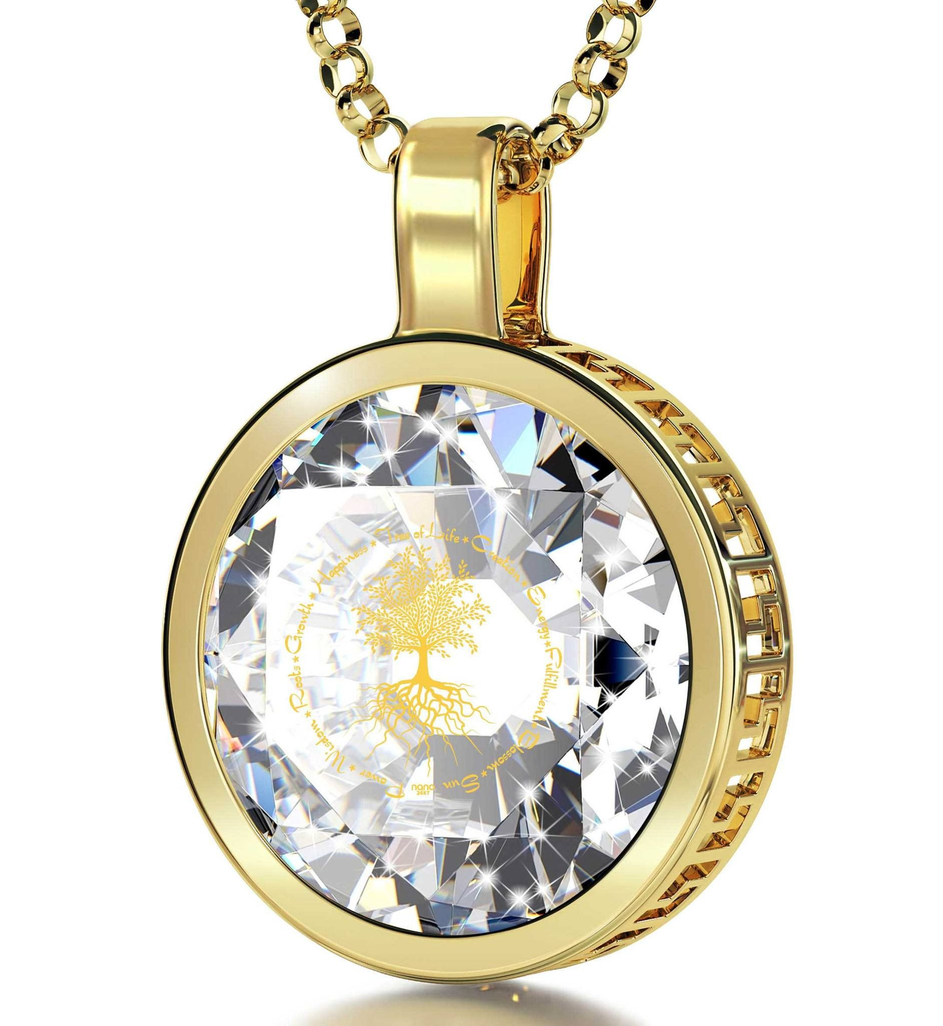 """""""Tree of Life"""", 24k Gold Plated Necklace, Cubic Zirconia. Exclusive 24 karat pure gold inscription Cubic Zirconia Stone 24k Gold Plated round frame (23mm x 18mm) Gold Filled Italian Rolo chain, 18"""" (45cm) - Standard Size for Women Celebrate happiness, wisdom and growth with this unique necklace A special magnifying glass and lavish box make this extraordinary birthday present for her all the more special  Keep reading"""