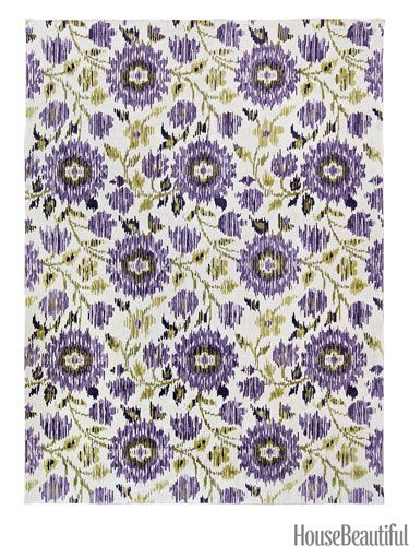 Floral ikat rug from pattersonflynnmartin.com. housebeautiful.com. #ikat #rug #floral #purple