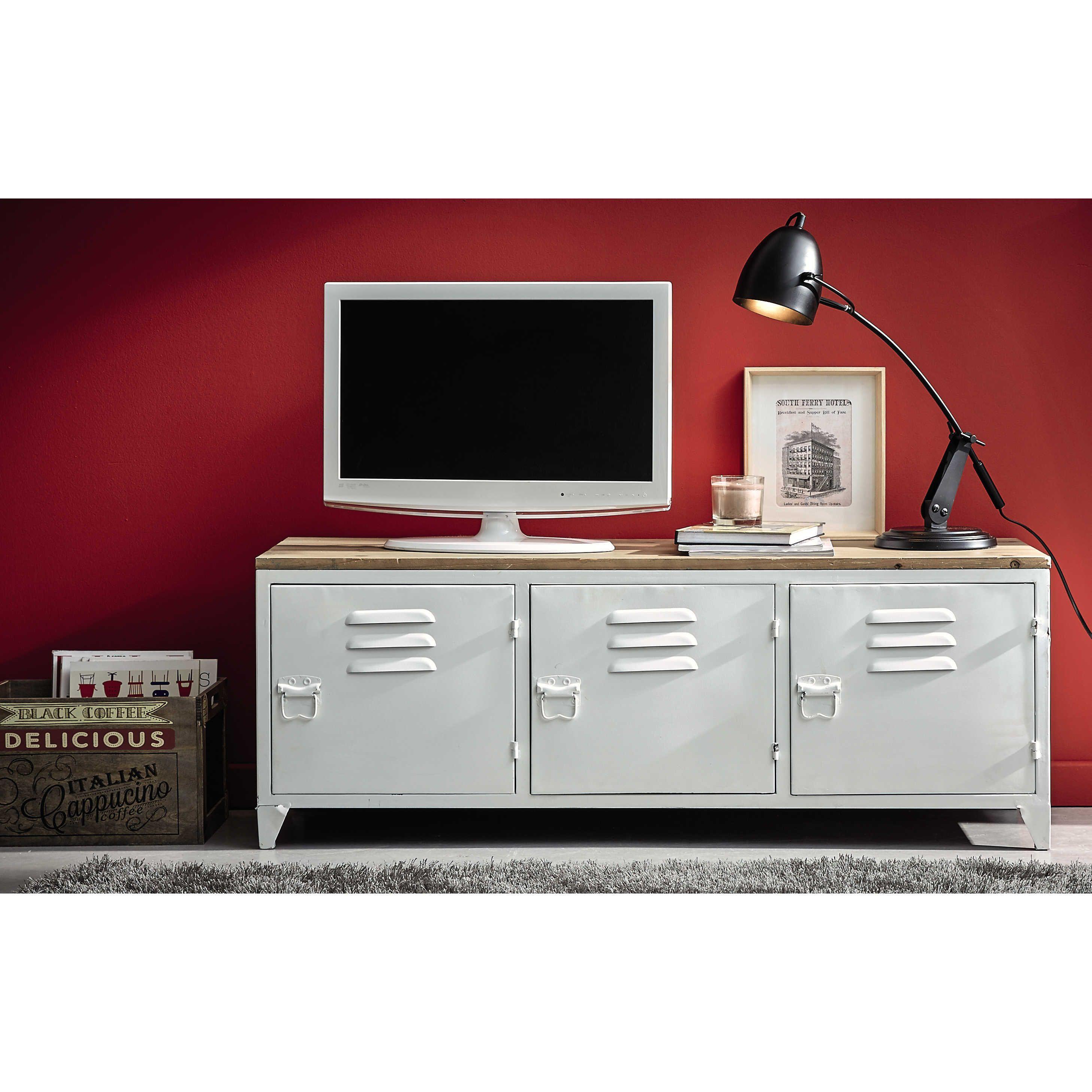 meuble tv en mtal blanc l 118 cm bruce maisons du monde - Meuble Tv White Maison Du Monde