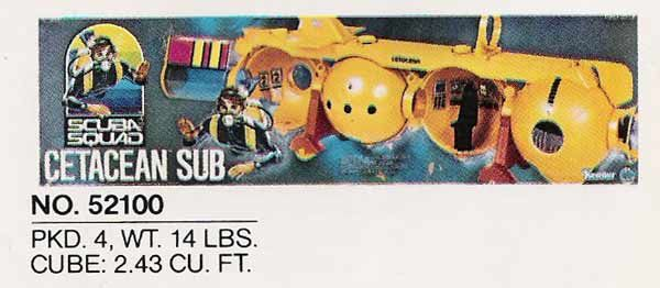 Cetacean sub was originally created for the Man from Atlantis action figure line, then recycled for Scuba Squad