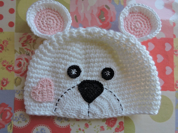 Bebé Niño Niña Crochet Sombrero grueso oso de peluche hecho a mano Orejas Gris Beanie Foto Prop