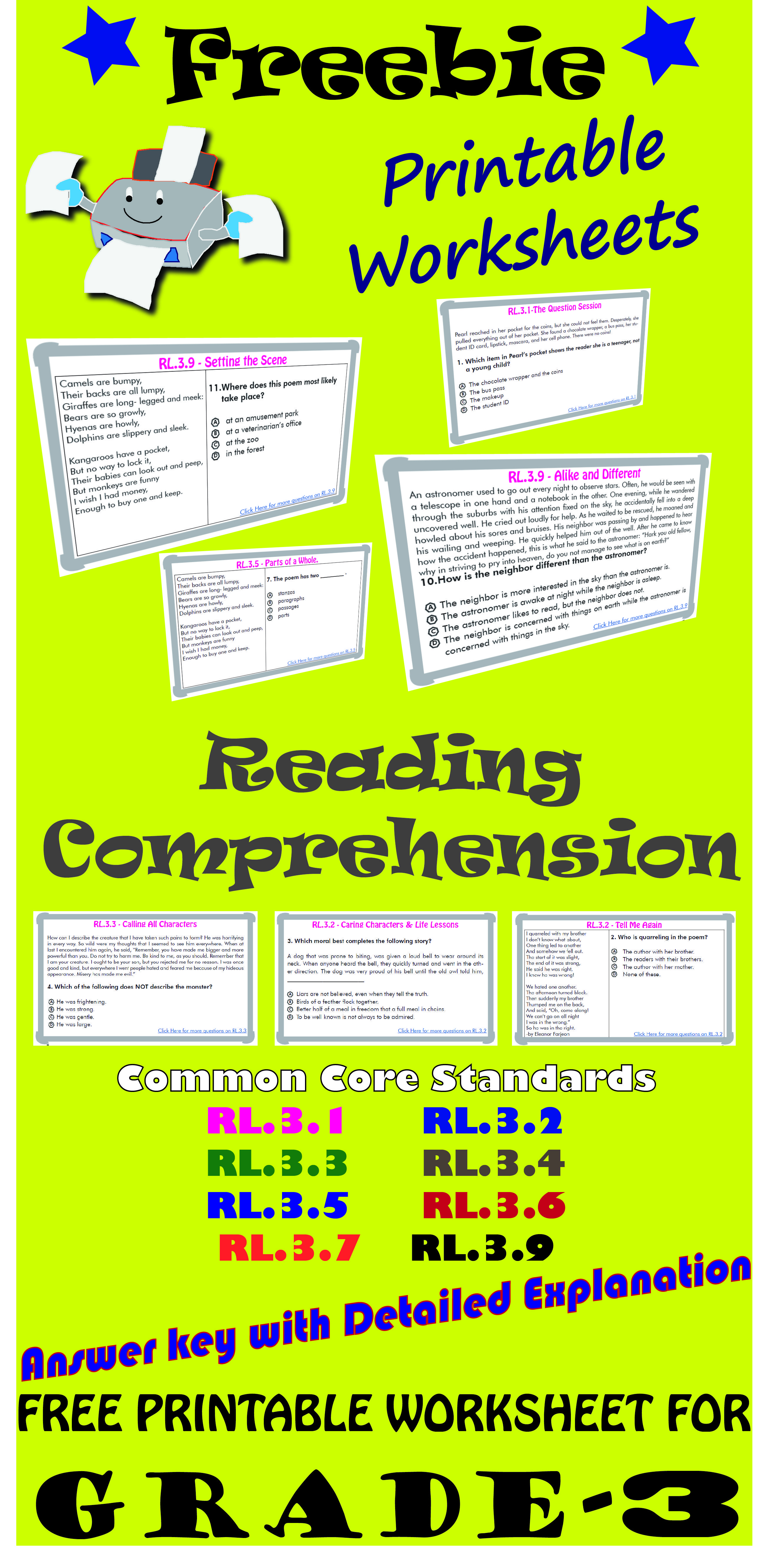 Reading Comprehension Freebie Grade 3