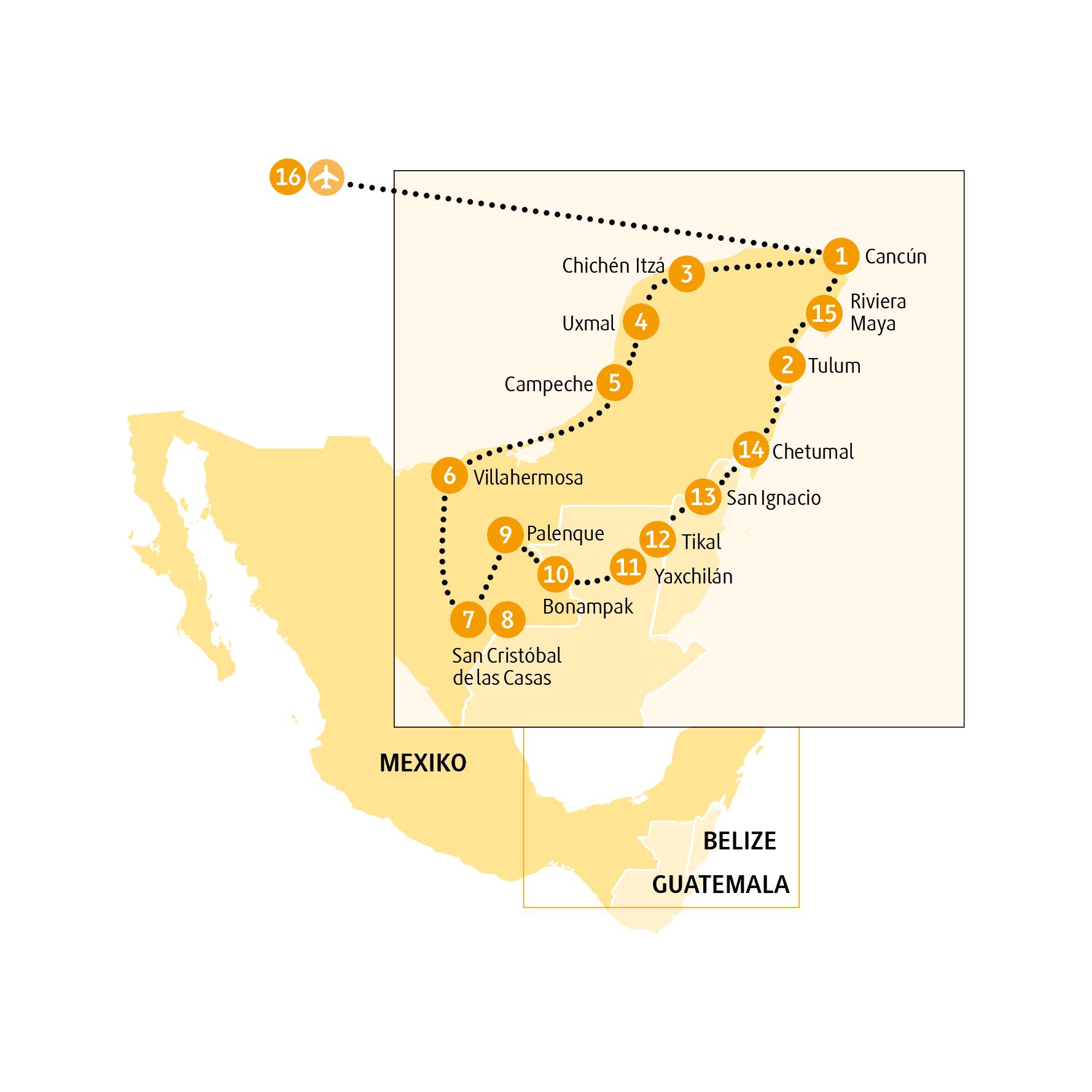 Reiseroute Mexiko Reise Palenque Von Chamaelon In 16 Tagen Die Wunder Mexikos Entdecken Max 12 Personen Durchfuhrungsgarantie Deutschsprachig Mexiko Belize
