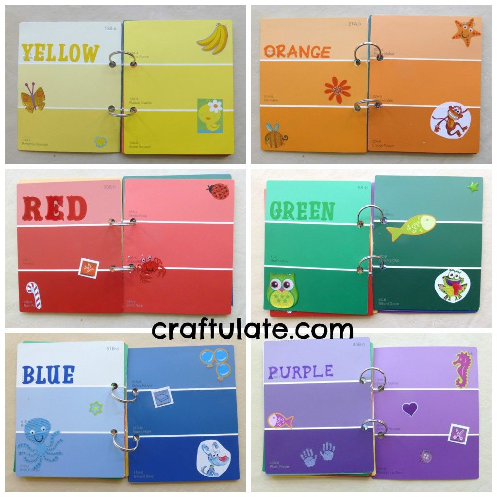 Make a colour book for your toddler from paint swatches for Different yellow paint colors