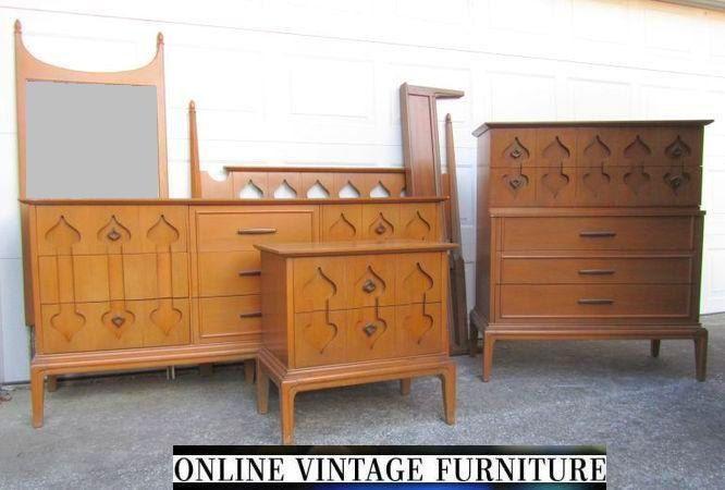 1960s Bedroom Furniture rare 1960s bedroom set dresser credenza chest headboard nightstand