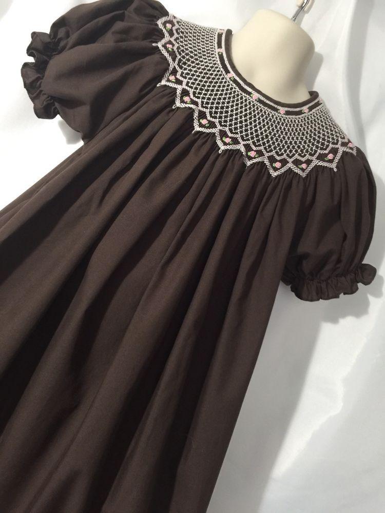 Rosalina Smocked Dress Brown Size 4T Short Sleeve Pink Trim #Rosalina #Smocked #Casual