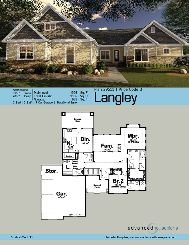 29511 Langley This 1 Story House Plan 39 S Covered Porch Opens To An Inviting Entry Tall Cottage Style House Plans Cottage Style Homes Craftsman House Plans