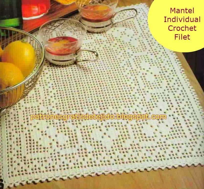 Mantel Individual Crochet Filet | Crochet y dos agujas | carpetitas ...