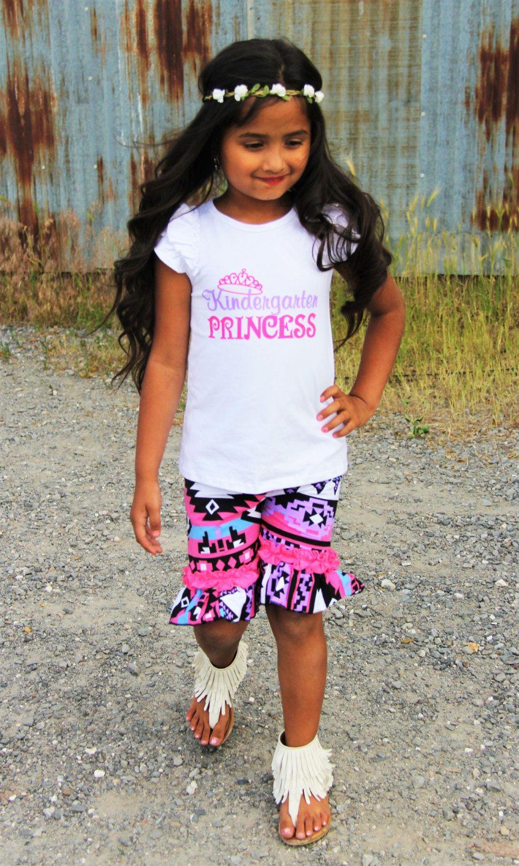 "Girls ""Kindergarten Princess"" Aztec Pink Ruffle Capri Set, Back To School, First Day Of School, Size 5-6YR, Abigail Jade Collection by AbigailJadeBoutique on Etsy"
