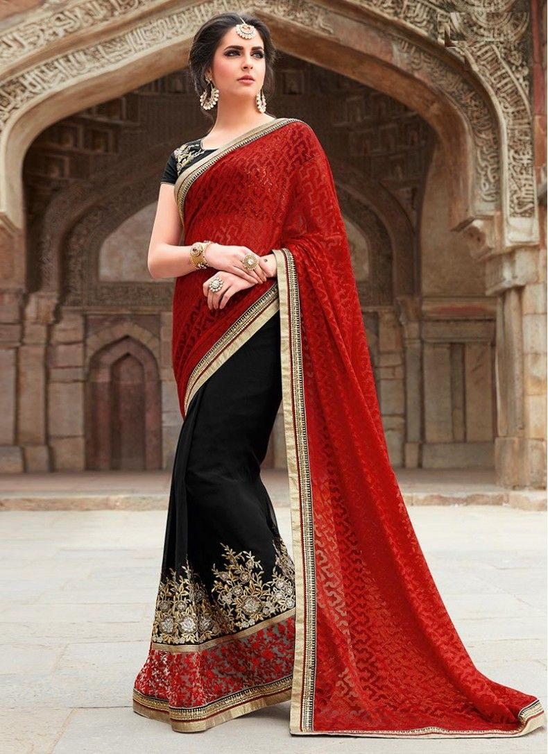 f1ab7d98ad Party Red and Black Faux Georgette Designer Reception wear Saree ...