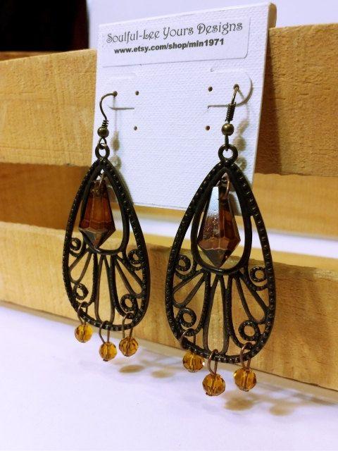 Antiqued Copper Chandelier Earrings by SoulfulLeeYours on Etsy
