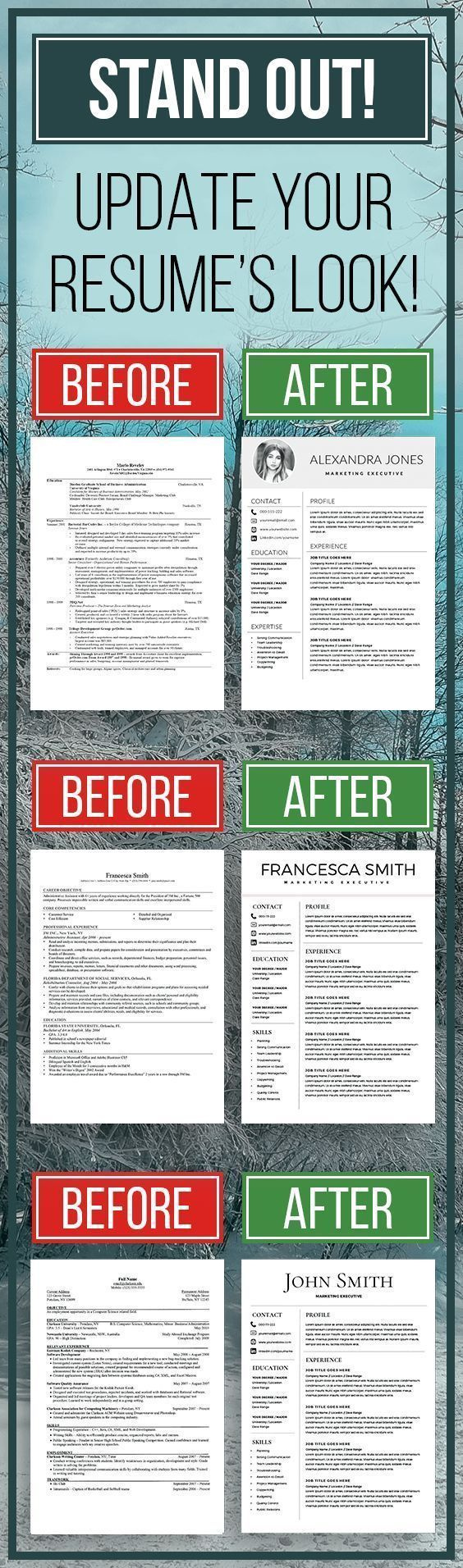 STAND OUT! Up the game! Update you resume's look to a modern and successful  one! | Bewerbung | Pinterest | Bewerbung