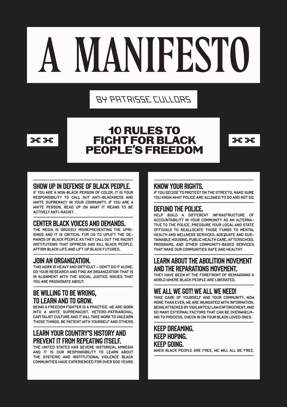 Wepresent A Manifesto By Patrisse Cullors Manifesto Lettering Black Person