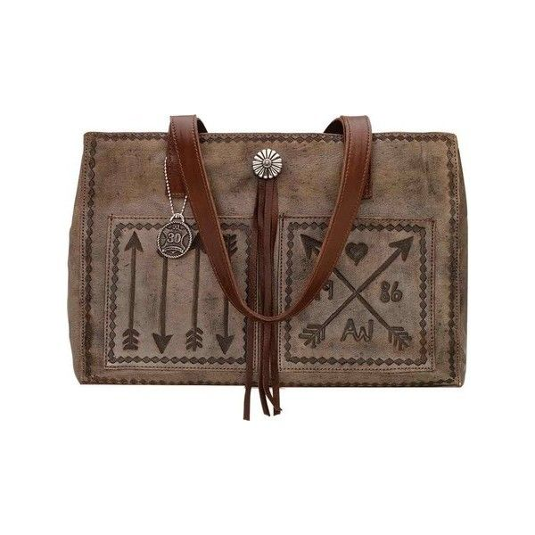 Women's American West Cross My Heart Shopper Tote w/ Outside Pocket... (€210) ❤ liked on Polyvore featuring bags, handbags, tote bags, brown leather handbags, leather tote bags, leather tote, handbags totes and brown leather shoulder bag