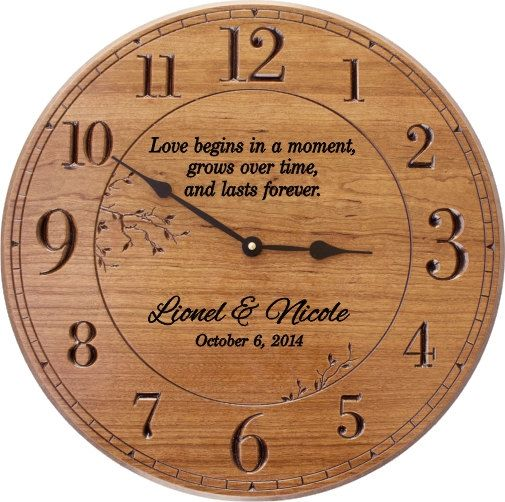 Love Begins In A Moment Personalized 17 In Wood Wall Clock