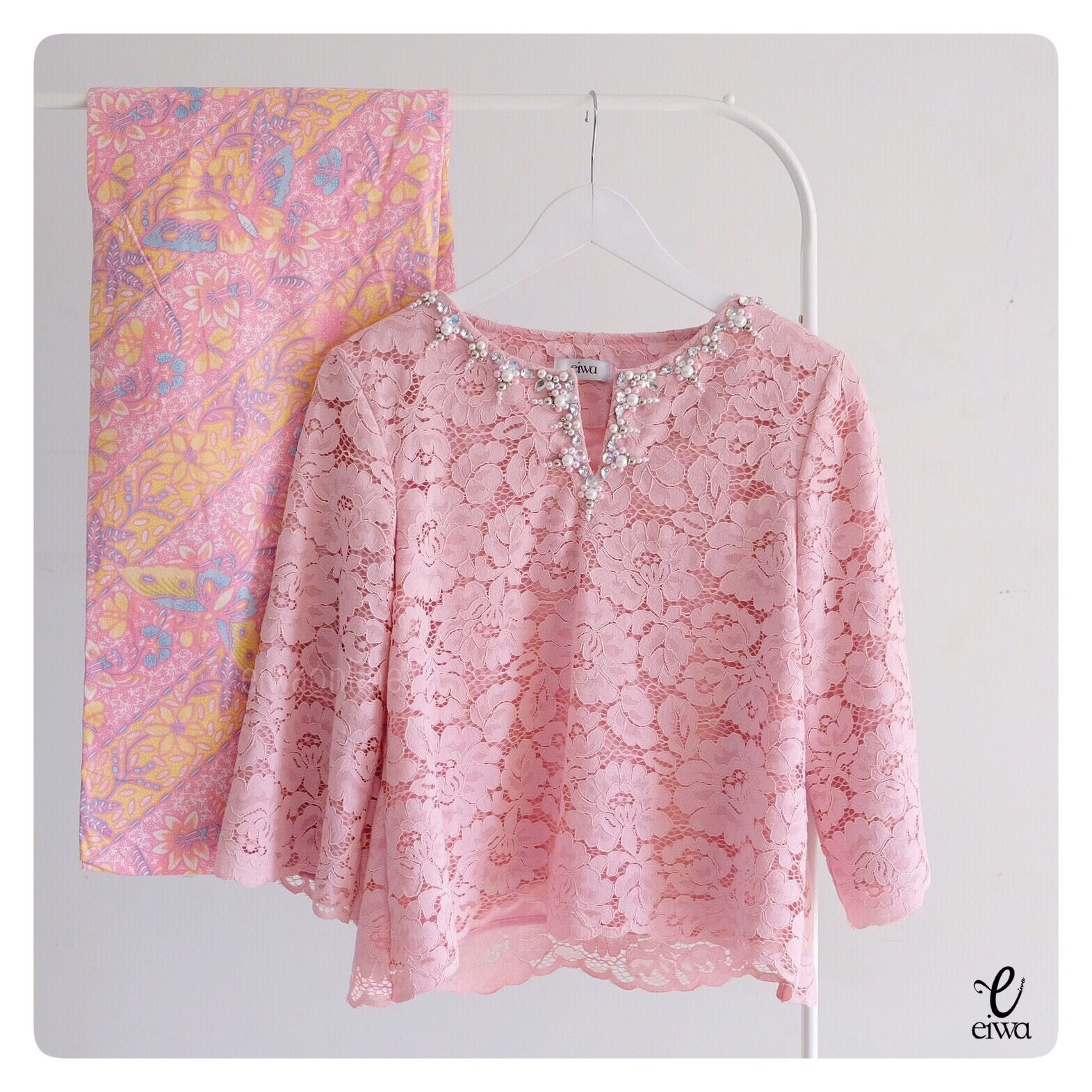 simple modern long sleeve lace top kebaya brokat aonline