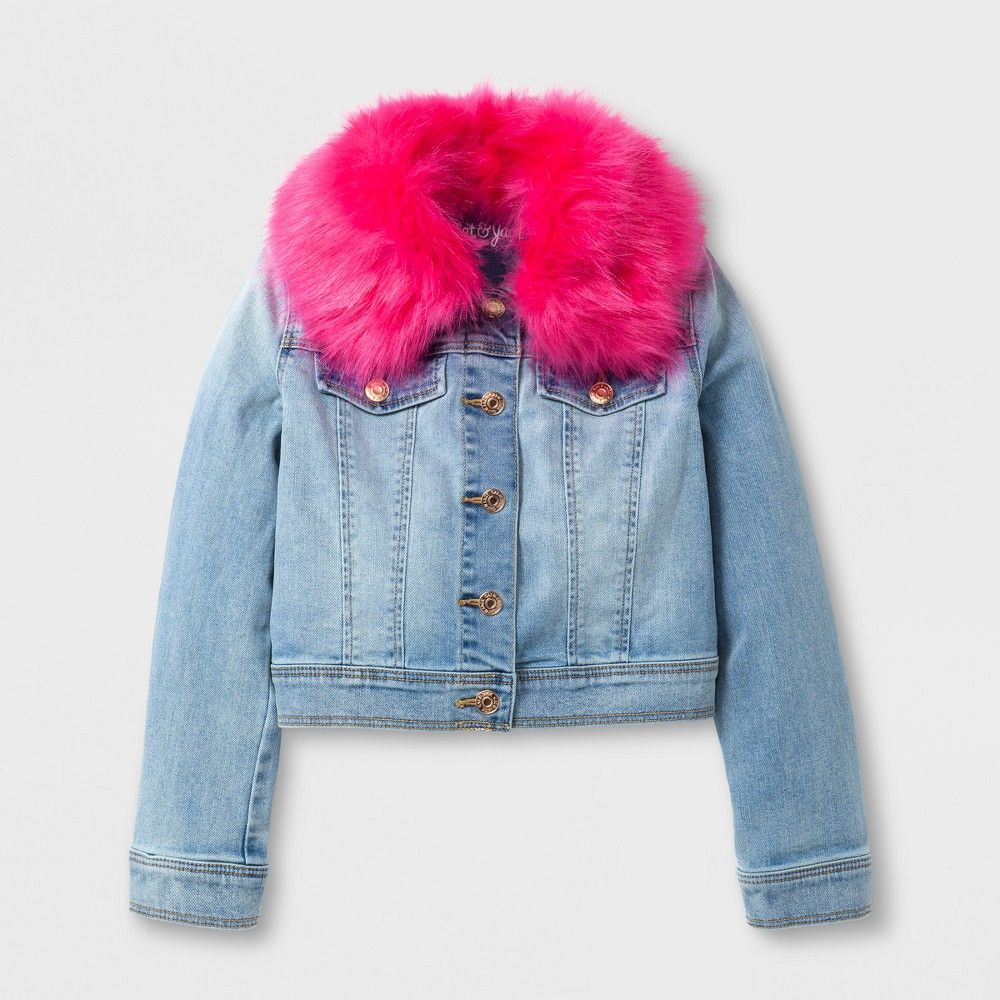 Girls Jean Jacket With Faux Fur Collar Cat Jack Light Blue Xl Light Blue Jean Jacket Jean Jacket For Girls Blue Jean Jacket [ 1000 x 1000 Pixel ]