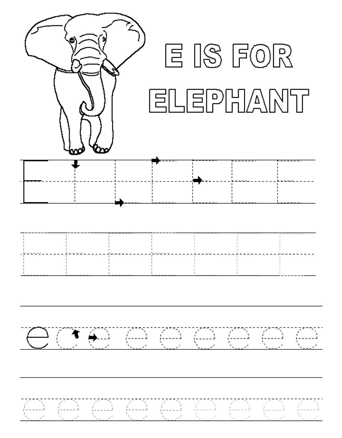 Good Alphabet Tracer Pages E Elephant