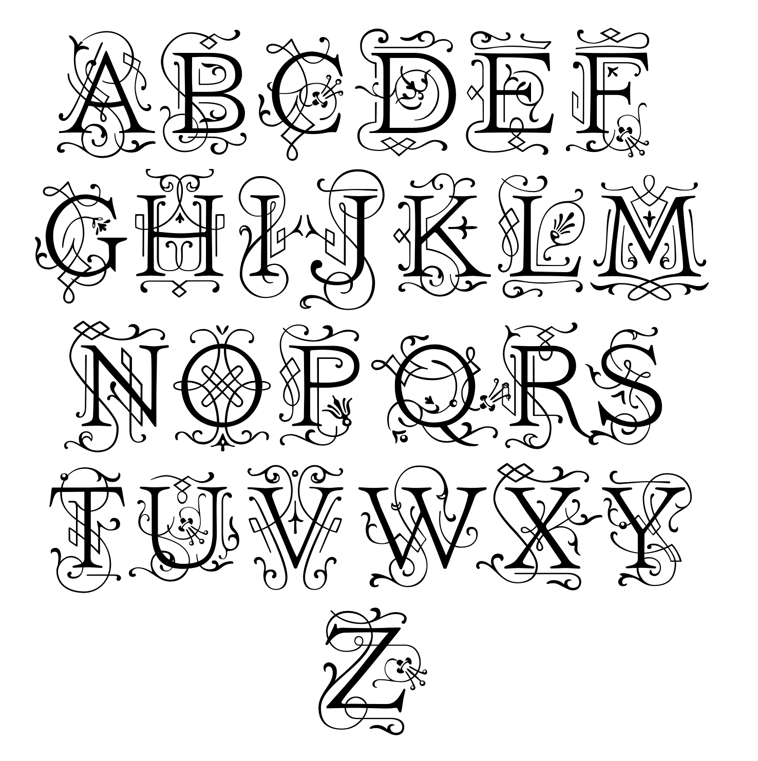 Ivory Victorian Lettering Calligraphy 2d Art