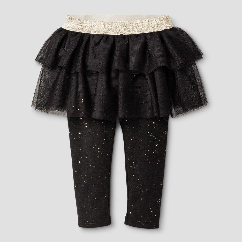 Toddler Girls' Birthday Capsule Leggings Cat & Jack - Ebony 12M, Toddler Girl's, Size: 12 Months, Black