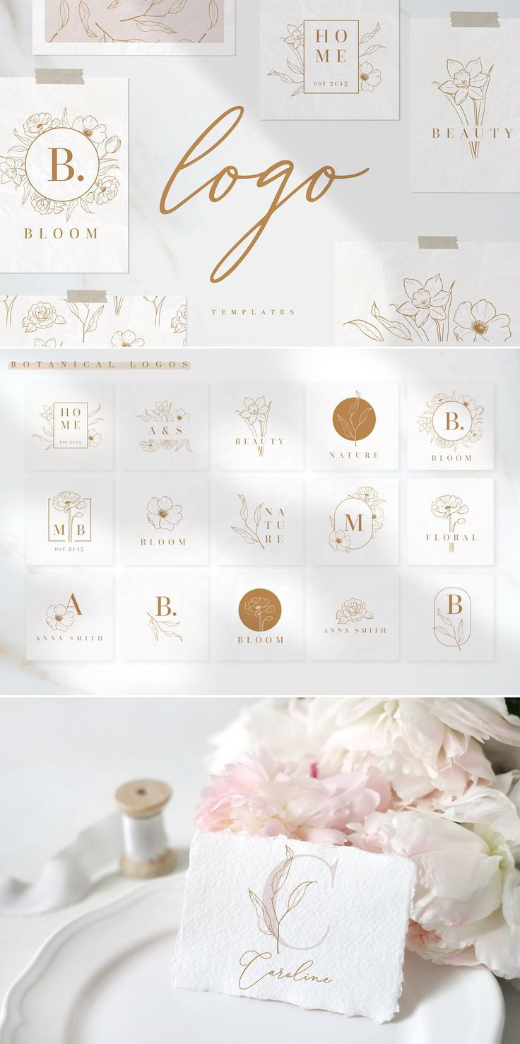 15 botanical logo templates by Inna Moreva on creativemarket
