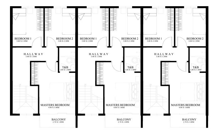 Townhouse Plans Series Php 2014011 Small Apartment Building Plans Small Apartment Building Row House Design