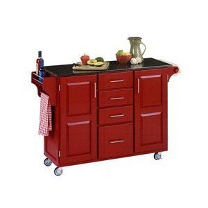kitchen islands on wheels | Red kitchen island to compliment your ...