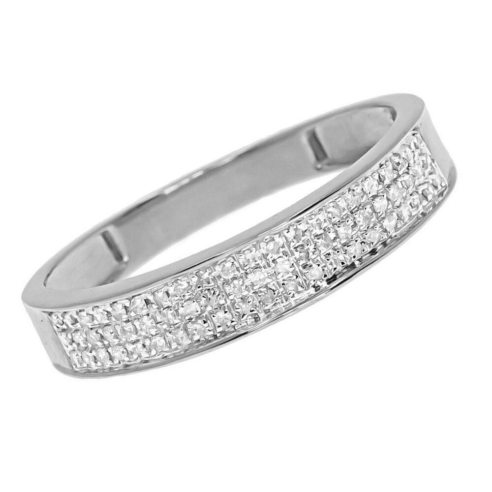 10k solid white gold mens three row pave round diamond