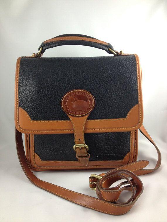 Vintage Leather Bag Dooney And Bourke Black British Tan Messenger Satchel Bookbag Purse 1980s