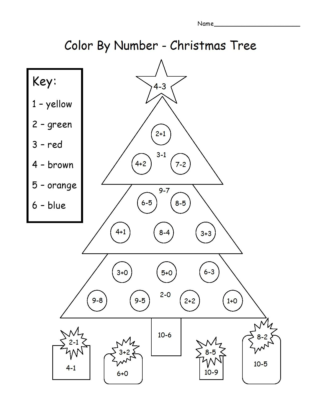 Christmas Tree Color By Number Add Subtract Printable – Santa Math Worksheets