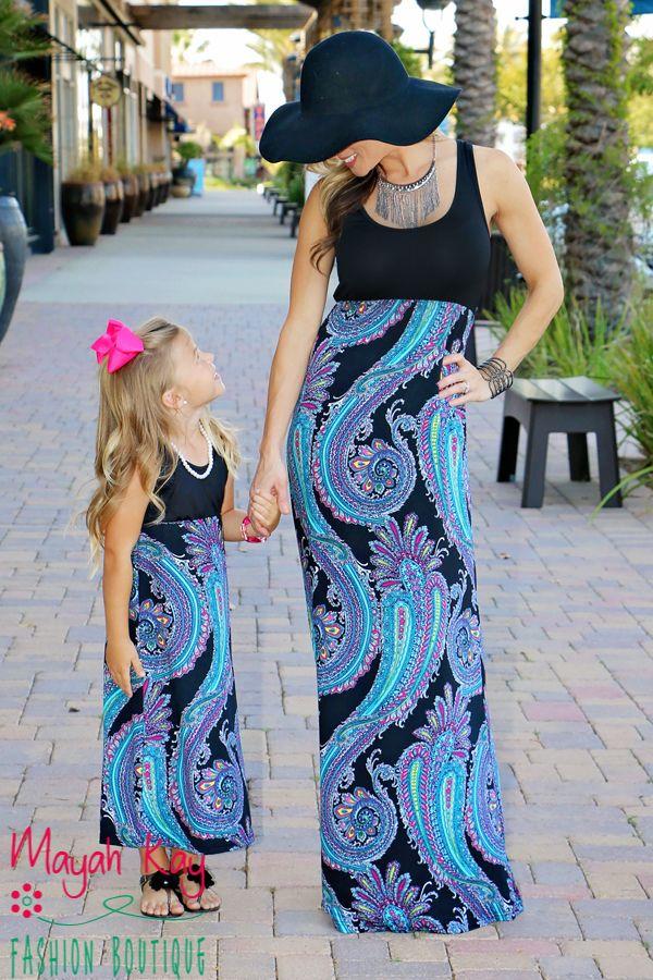 54f88ea6b7a0 Mommy & Me Black & Blue Paisley Maxi Dress - Adult - Mayah Kay Fashion…