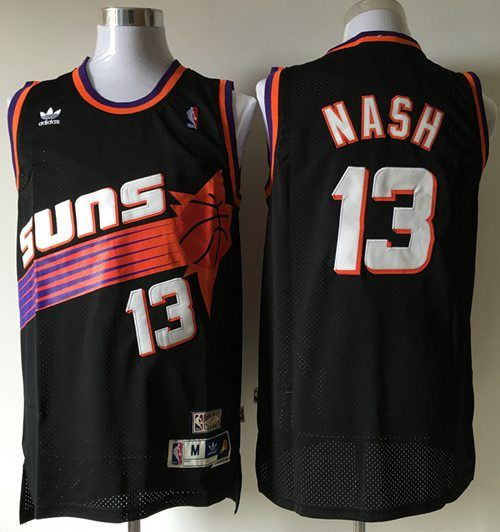 2ba7a05b2b9 Suns  13 Steve Nash Black Throwback Stitched NBA Jersey