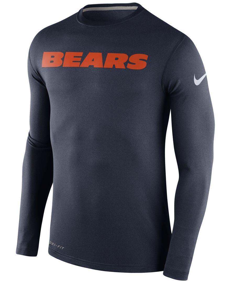 9736a022 Nike Men's Long-Sleeve Chicago Bears Dri-fit Touch T-Shirt | Fashion ...