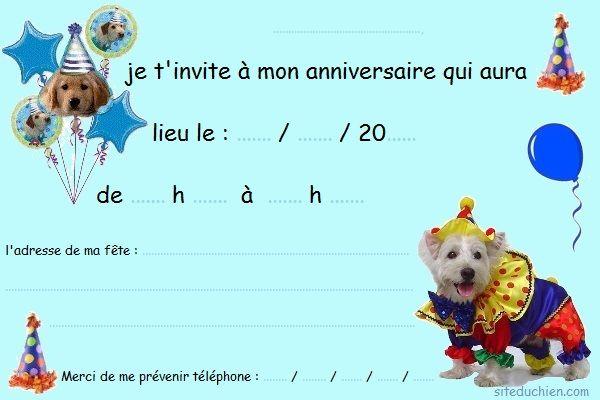 invitation anniversaire chien gratuite