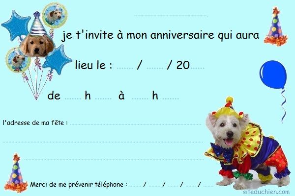cartes invitation anniversaire chiens