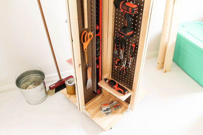 Stabilize the pegboard panels by framing the edges with the 1 x 2 ...