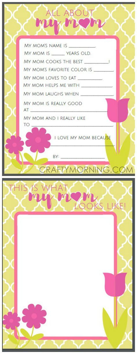 All About Mom Or Grandma Questions  Free Motheru0027s Day Printables For Kids  To Fill Out! | First Grade | Pinterest | Free, Crafts And School
