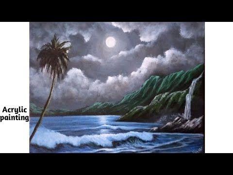 Moonlight Sea Beach Painting/Ocean Waves on a Moonlit Beach Painting-Eas...