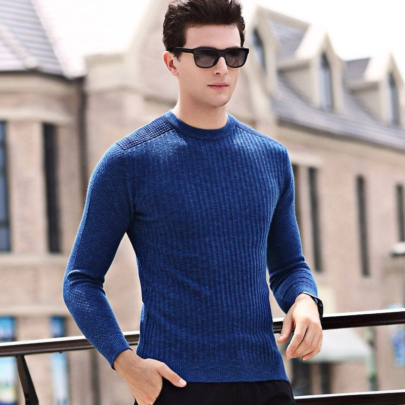 ac5526b0b68 Korean men's wear autumn thin men's sweater slender long sleeve ...