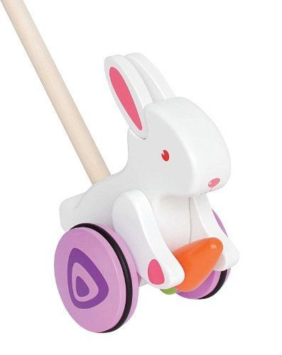 Hape Bunny Push and Pull by Hape. $24.47. From the Manufacturer                A gentle push or pull on the Bunny Push and Pull by Hape encourages this bunny to nibble the carrot and your toddler to chase the tail. This colorful version of the classic push toy will give hours of fun while providing a great form of exercise. Watch you child smile while developing coordination, balance and motor skills. Durable child safe paint finish and solid wood construction are h...