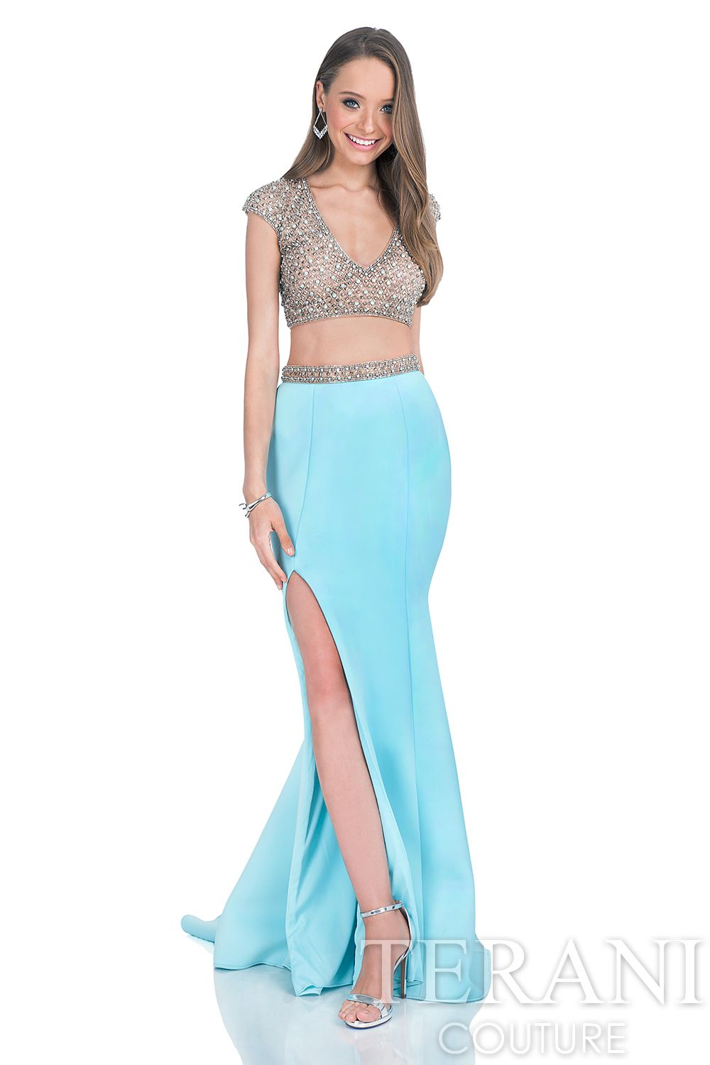 Sequin embellished neoprene prom gown. This prom dress consists of ...