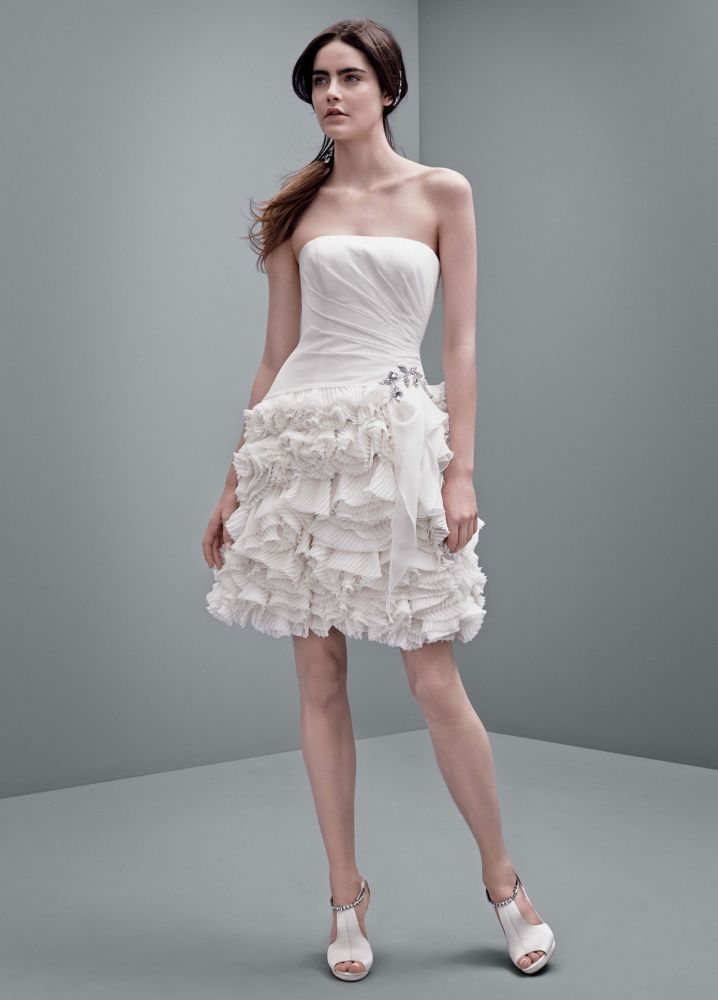 White By Vera Wang Short Chiffon Wedding Dress Blush Pink 2