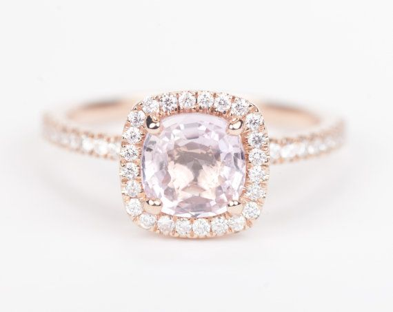 Certified Peach Pink Square Cushion Sapphire & Diamond Halo Engagement Ri