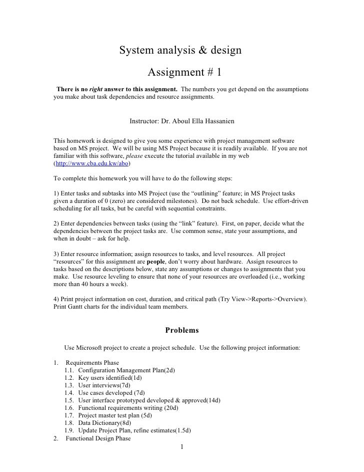 system analysis  u0026 design assignment   1 there is no right answer to this assignment u2026