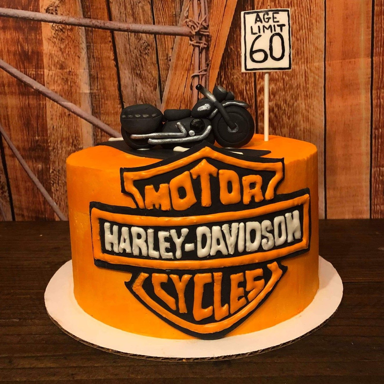 Motorcycle Lover S Cake Harely Davidson Cake Buttercream On