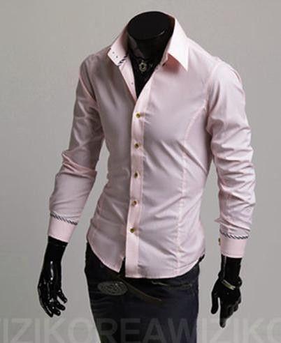 Men's Long-Sleeved Solid Color Fashion Dress Shirt 6 colors