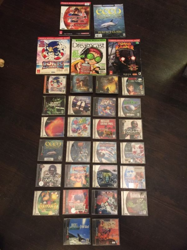 US Sega Dreamcast Game Lot #retrogaming #HotDC  26 games: Shenmue Sonic Adventure Rayman 2 RE Code Veronica etc. And 5 magazines. Good price atm.