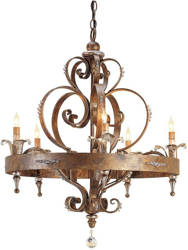 French Country Wrought Iron Chandelier With Swarovski Crystals
